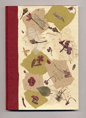 Libro firma in tela e carta a mano con inclusioni di fiori pressati